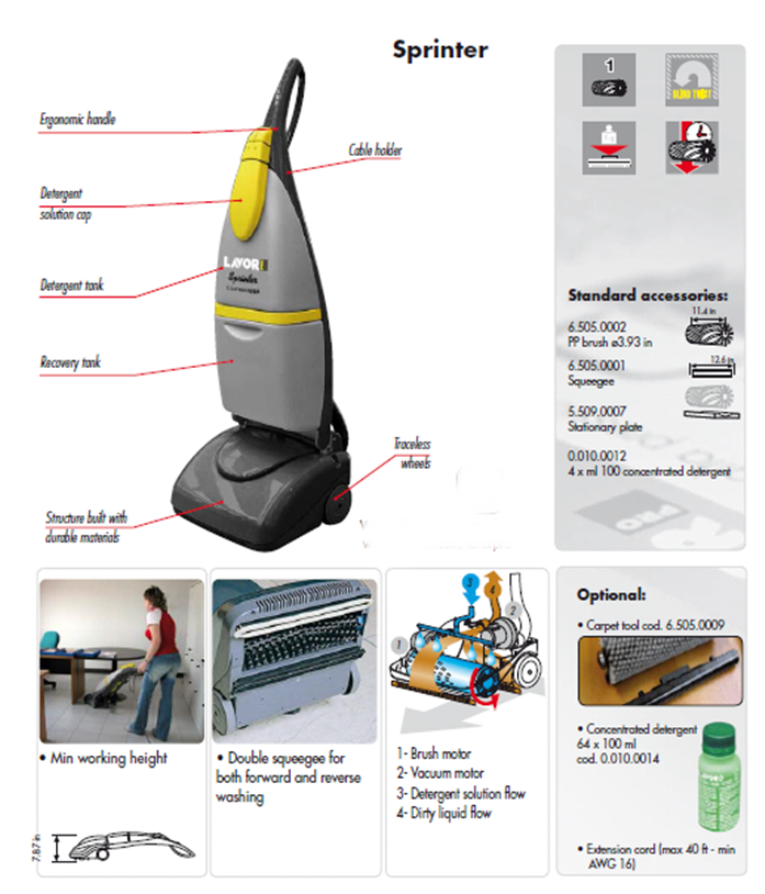 Lavor Sprinter Hard Floor Tile Grout Scrubber And Dryer By
