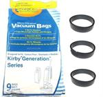 kirby generation 1, 2, 3, 4, 5, 6,g7, ultimate g and sentria bags 9 pack plus 3 belts free