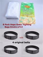 8 pk Replacement envirocare for  CCPK80H Oreck  HEPA Cloth Odor Fighting High Density with  original Oreck 4 belts