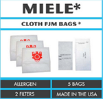 5PK Miele FJM Deluxe Cloth Bags & 2 Filters