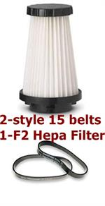 Dirt Devil Vacuum parts style 15 belts and hepa filter F2