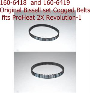 160-6418  and 160-6419 Original Bissell set Cogged Belts fits ProHeat 2X Revolution