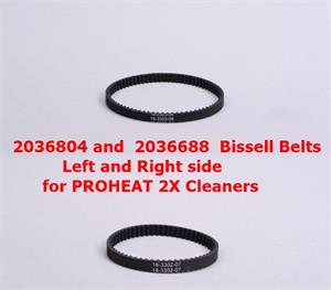 2036804 and 2036688 Bissell Belts Left and Right side for PROHEAT 2X Cleaners