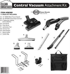 Sebo Clean Obsessed Central Vac Kit 30' Hose Diect Connect white