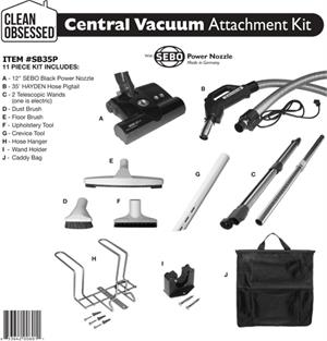Sebo Clean Obsessed Central Vac Kit 35' Hose with 6 ft pigtail pn 12 inches