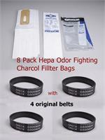 8 pk Genuine CCPK80H Oreck  HEPA Cloth Odor Fighting High Density with original 4 belts